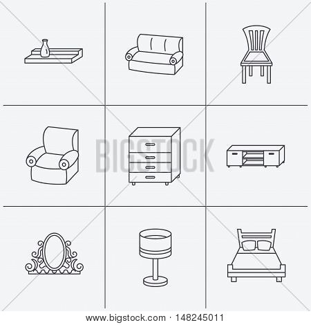 Double bed, table lamp and armchair icons. Chair, lamp and vintage mirror linear signs. Wall shelf, sofa and chest of drawers furniture icons. Linear icons on white background. Vector