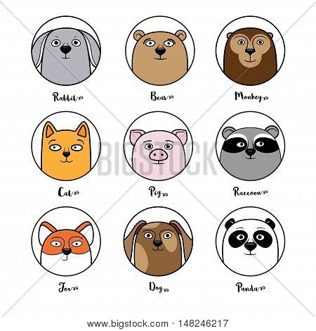 Set of cute animal avatars in circles, cartoon style vector illustration isolated in white background. Cat, dog, raccoon, fox, bear, panda, monkey, rabbit avatars for game, chat, userpic