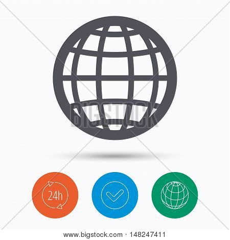 Globe icon. World or internet symbol. Check tick, 24 hours service and internet globe. Linear icons on white background. Vector