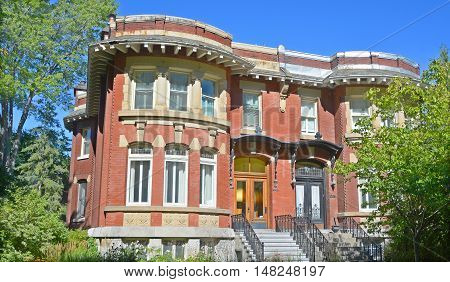 MONTREAL QUEBEC CANADA 09 16 2016: Westmount house is an affluent suburb on the Island of Montreal, having been at one point the richest community in Canada.