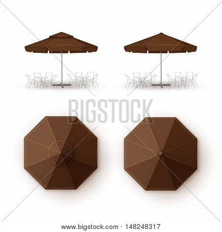 Vector Set of Brown Blank Patio Outdoor Market Beach Cafe Bar Pub Restaurant Round Umbrella Parasol  for Branding Top Side View Mock up Close up Isolated on White Background.