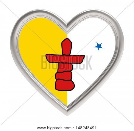 Nunavut flag in silver heart isolated on white background. 3D illustration.