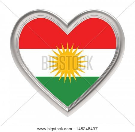 Kurdistan flag in silver heart isolated on white background. 3D illustration.