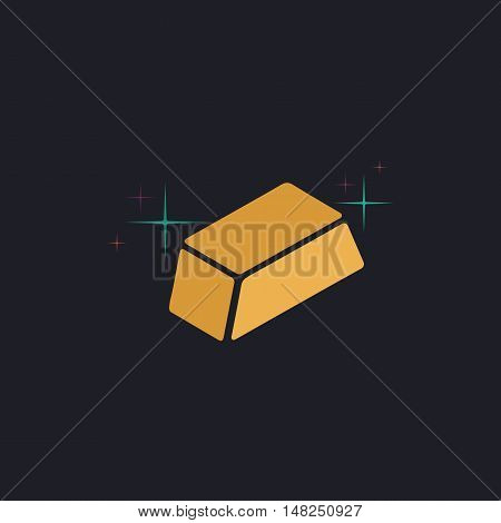 gold bars Color vector icon on dark background