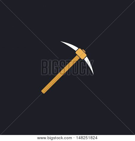 Pickax Color vector icon on dark background