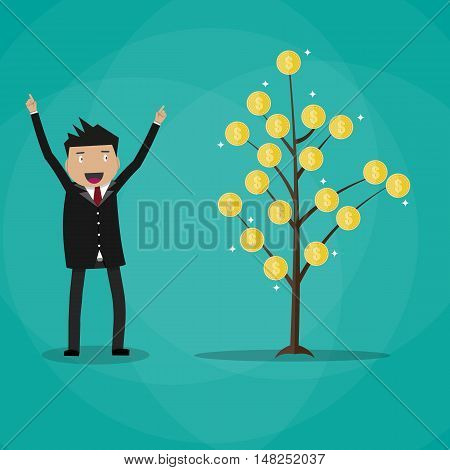 Happy businessman and money plant. Coin tree. growth and investment concept. vector illustration in flat style on green background
