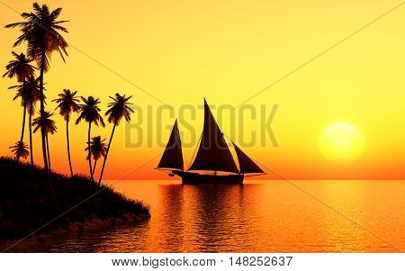 This image shows a sailing ship in the sunset