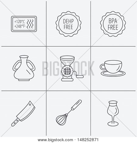 Coffee cup, butcher knife and wineglass icons. Meat grinder, whisk and vase linear signs. Heat-resistant, DEHP and BPA free icons. Linear icons on white background. Vector