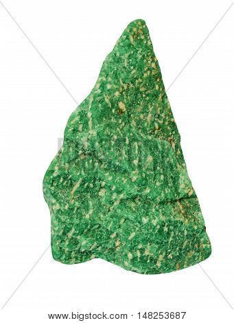 Green Crystal of amazonite on white background