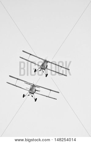 Bi-plane In Flight