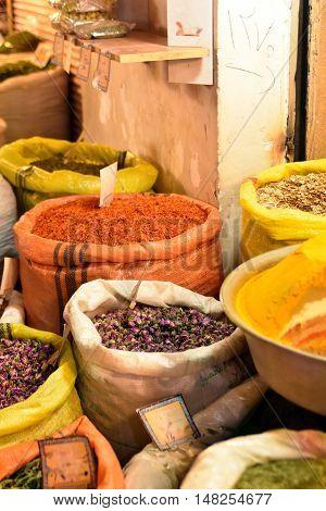 Inside spice market at  Isfahan Grand Bazaar, Naqsh-e Jahan Square, esfahan, Iran poster