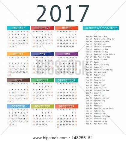 Calendar Template For 2017.