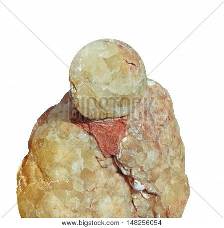 Raw mineral Calcite with limestone on white
