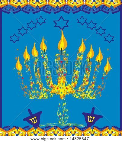 hanukkah menorah abstract card , vector illustration