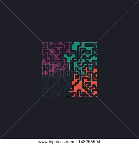 Labyrinth Color vector icon on dark background