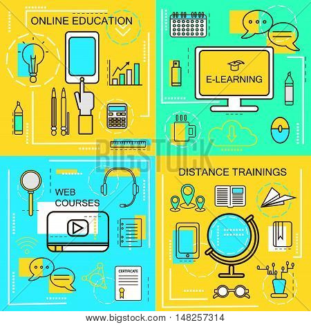 E-learningOnline Ecucation Web Courses and Distance trainings concept.Thin Line icons. Vector Illustration. Banners for web network site social media.