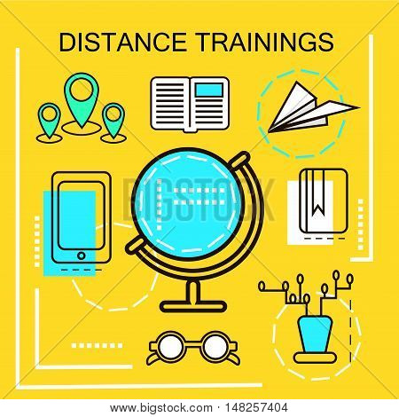 Distance Trainings banner concept. Online Education. Thin Line icons. Vector Illustration.For web banners and promotional materials.