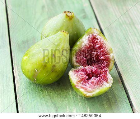 Three Ripe Sweet Green Figs