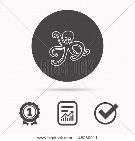Octopus icon. Ocean devilfish sign. Report document, winner award and tick. Round circle button with icon. Vector