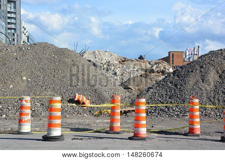 MONTREAL QUEBEC CANADA 09 18 2016: The final phase of the demolition of the Bonaventure Expressway to make way for an urban renewal project that will add a significant amount of greenspace to the area