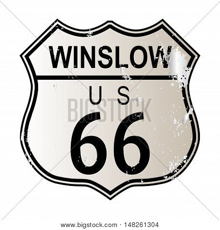 Winslow Route 66 traffic sign over a white background and the legend ROUTE US 66
