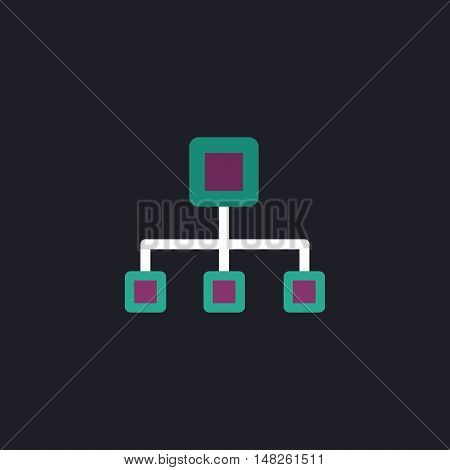 flow chart Color vector icon on dark background