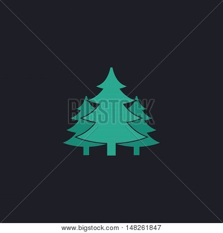 chritmas spruce Color vector icon on dark background