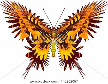 Fantastic butterfly yellow color with white background