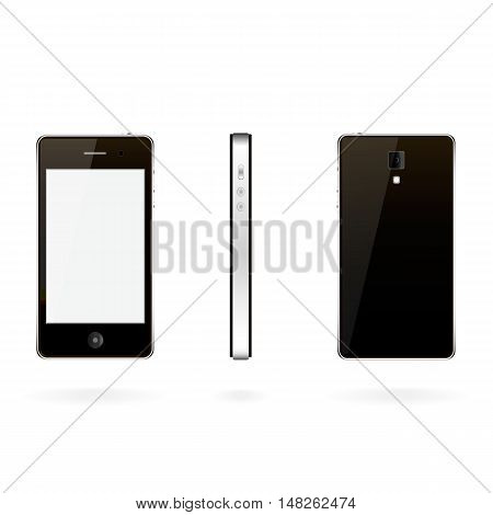 Vector illustration smartp-hone with three positions on a white background.