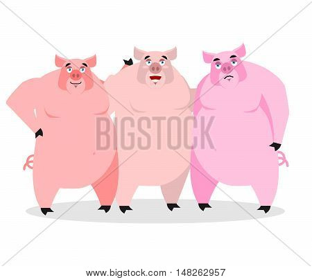 3 Pigs. Three Piglets. Funny Farm Animals. Good Character From Fairy Tale. Thick Pink Beast. Lovely