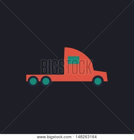 cargo truck Color vector icon on dark background