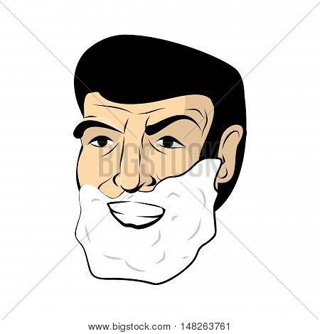 Man Shaving Foam. Mens Head. Shaving Beard And Mustache