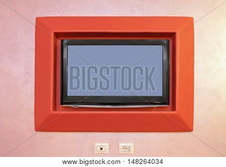 Wide Led TV Mounted at Wall Rack