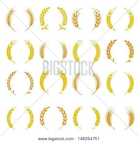 Wheat ear symbols for logo design. Agriculture grain, organic plant, bread food. Design elements for bread packaging or beer label. Set of silhouette circular laurel foliate and wheat wreaths.