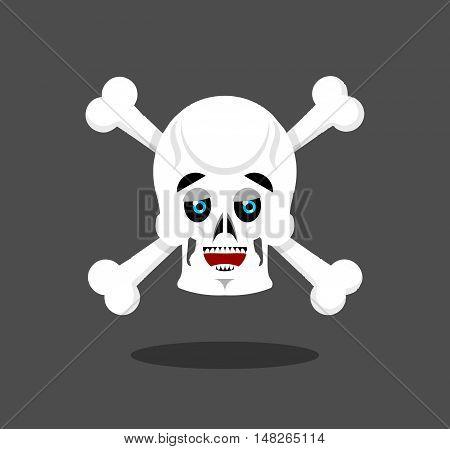 Happy Skull Emotion. Crossbones. Lucky Skeleton Head