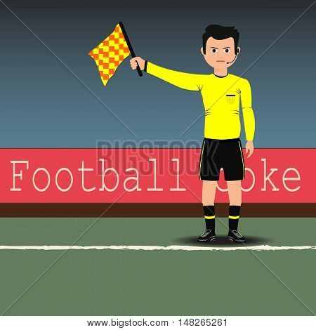 Assistant referees with flag on the soccer match. Vector