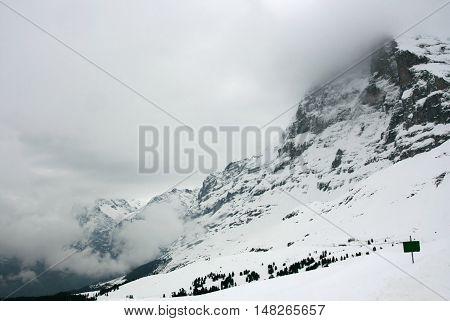 Swiss train at Kleine Scheidegg station in Jungfrau area