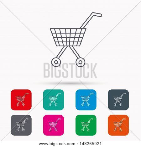 Shopping cart icon. Market buying sign. Linear icons in squares on white background. Flat web symbols. Vector