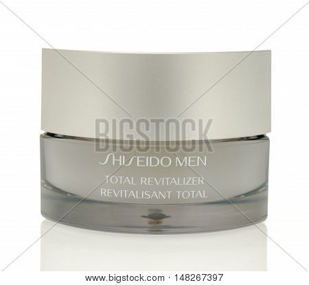 Winneconne WI - 4 August 2016: Shiseido men total revitalizer face cream on an isolated background.