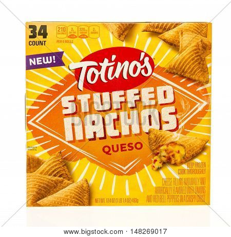 Winneconne WI - 12 August 2016: Box of Totino's stuffed nachos in queso flavor on an isolated background.