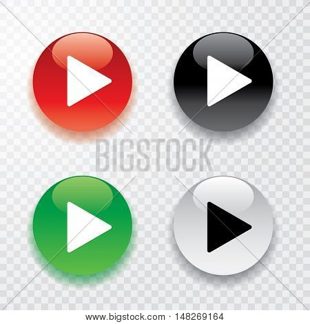 vector collection of four play buttons with transparent shadow