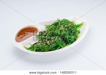 Hiyashi Wakame Chuka Salad Or Seaweed Salad With Nut Sauce