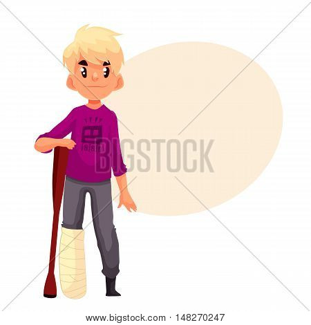 Little boy with a broken leg and a crutch, cartoon style illustration isolated on white background. Cute blond kid with a plastered leg standing and resting on a crutch