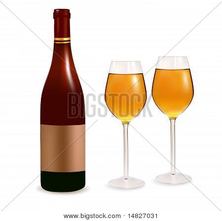 Bottle with white wine and two glasses. Vector illustration.