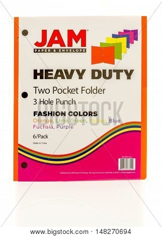 Winneconne WI - 20 August 2016: Package of Jam heavy duty two pocker folders in fashion colors on an isolated background.