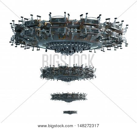 3D illustrations of a UFO in four images adjusted for perspective, for science fiction backgrounds or interstellar deep space travel with the clipping path included in the file