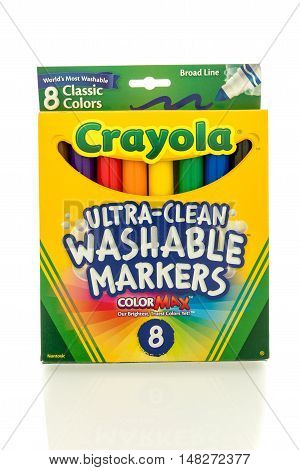 Winneconne WI - 27 August 2016: Box of Crayola ultra clean washable markers on an isolated background.