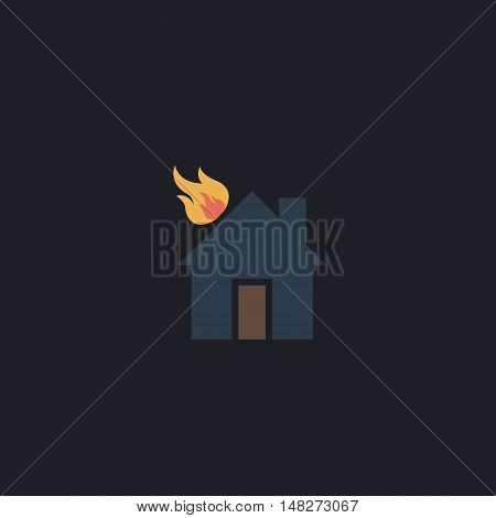 house fire Color vector icon on dark background