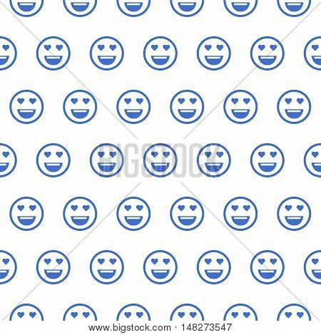 Cute smiley face, in love face seamless outline pattern background. Pattern of emoticons, emoji, smiley . Flat style illustrations - stock vector