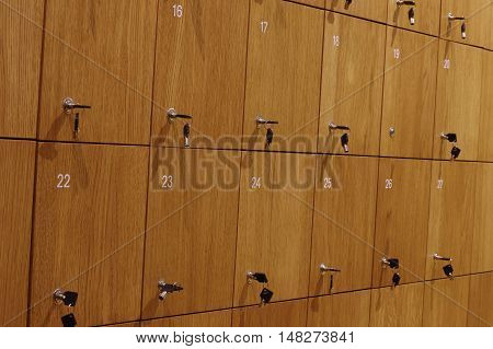 Depository lockers wooden architecture interior clouse up.